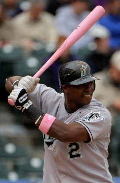 DENVER - MAY 10:  Hanley Ramirez #2 of the Florida Marlins takes an at bat against the Colorado Rockies during MLB action at Coors Field on May 10, 2009 in Denver, Colorado. Ramirez went two for four as he was one of many players using pink bats in Major