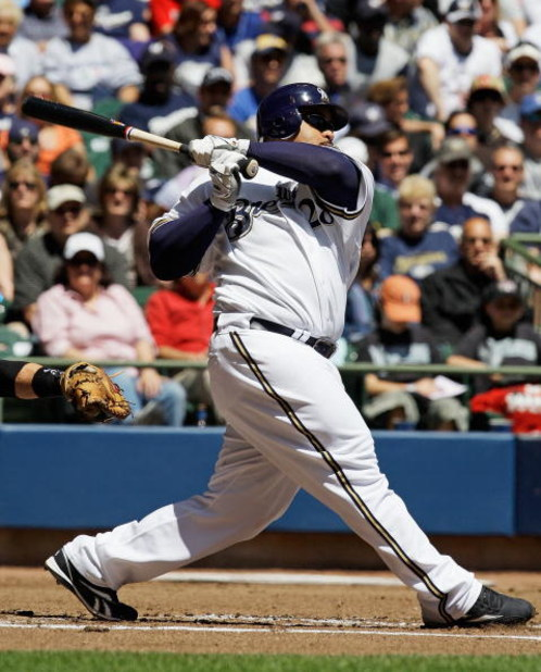 MILWAUKEE - MAY 14: Prince Fielder #28 of the Milwaukee Brewers hits the ball against the Florida Marlins on May 14, 2009 at Miller Park in Milwaukee, Wisconsin. The Brewers defeated the Marlins 5-3.  (Photo by Jonathan Daniel/Getty Images)