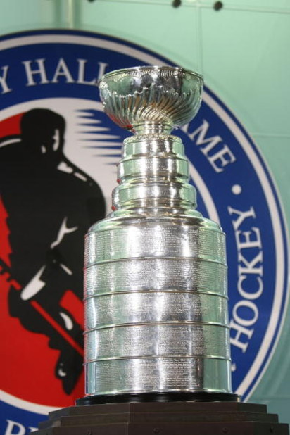 TORONTO - NOVEMBER 10: The Stanley Cup is displayed at the press conference introducing the 2008 Hall of Fame 2008 inductees at the Hockey Hall of Fame November 10, 2008 in Toronto, Ontario, Canada. (Photo by Bruce Bennett/Getty Images)