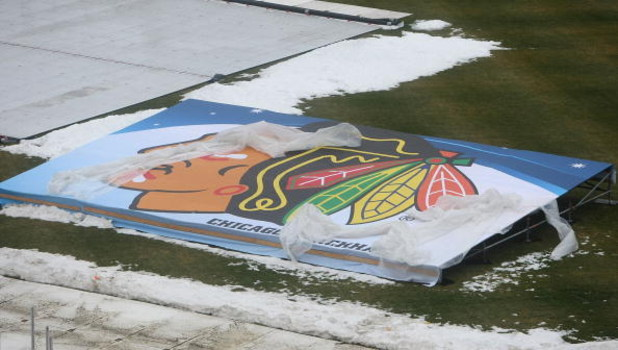 CHICAGO - DECEMBER 27: A Chicago Blackhawks logo is seen as preparations continue during a media availability for the 2009 NHL Winter Classic on December 27, 2008 at Wrigley Field in Chicago, Illinois. The Winter Classic will feature the Chicago Blackhawk