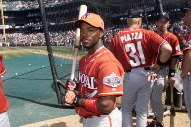 10 Jul 2001:  Jimmy Rollins of the Philadelphia Phillies during batting practice for the 2001 Major League Baseball All-Star Game at Safeco Field in  Seattle, Washington. DIGITAL IMAGE. Mandatory Credit:  Jed Jacobsohn/Allsport