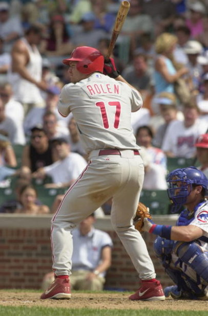 CHICAGO - JULY 22:  Third Baseman Scott Rolen #17 of the Philadelphia Phillies readies at the plate against the Chicago Cubs on July 22, 2002 during the MLB game at Wrigley Field in Chicago, Illinois.  The Cubs defeated the Phillies 7-6.  (Photo by Jonath
