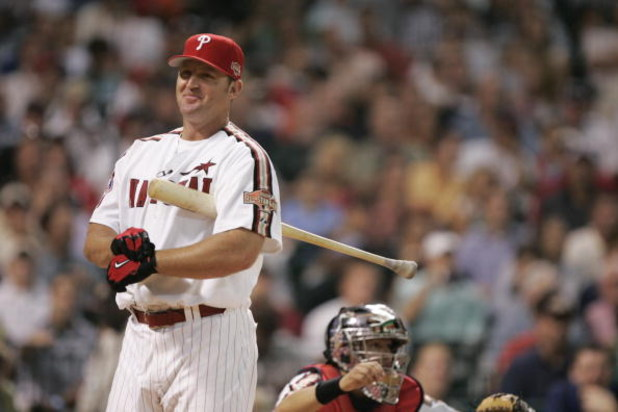HOUSTON - JULY 12:  National League All-Star Jim Thome of the Philadelphia Phillies adjust his batting gloves as he prepares to bat during the Major League Baseball 2004 Century 21 Home Run Derby at Minute Maid Park on July 12, 2004 in Houston, Texas.  (P