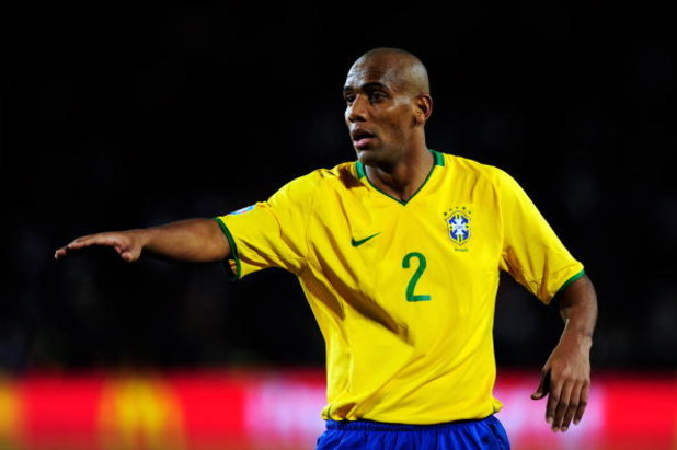 JOHANNESBURG, SOUTH AFRICA - JUNE 28:   Maicon of Brazil gestures during the FIFA Confederations Cup Final between USA and Brazil at the Ellis Park Stadium on June 28, 2009 in Johannesburg, South Africa.  (Photo by Jamie McDonald/Getty Images)