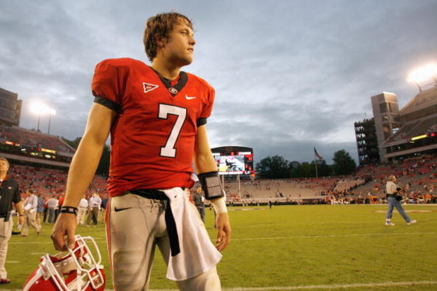 ATHENS, GA - OCTOBER 11:  Quarterback Matthew Stafford #7 of the Georgia Bulldogs looks on during the game against the Tennessee Volunteers at Sanford Stadium on October 11, 2008 in Athens, Georgia.  (Photo by Kevin C. Cox/Getty Images)