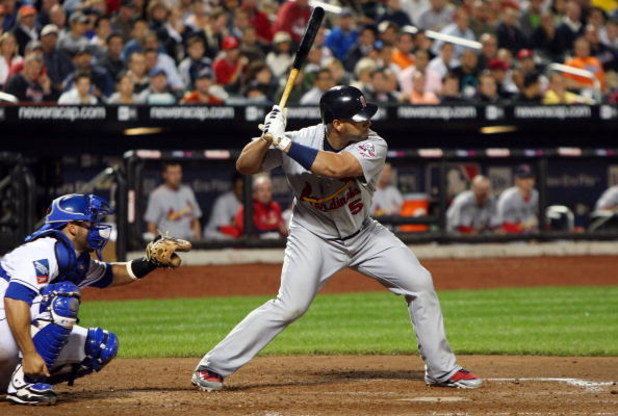 NEW YORK - JUNE 22:  Albert Pujols #5 of the St. Louis Cardinals bats against the New York Mets on June 22, 2009 at Citi Field in the Flushing neighborhood of the Queens borough of New York City.  (Photo by Jim McIsaac/Getty Images)