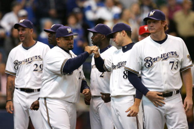 MILWAUKEE - OCTOBER 04:  Prince Fielder #28 of the Milwaukee Brewers greets Ryan Braun #8 during player introductions against the Philadelphia Phillies in Game three of the NLDS during the 2008 MLB playoffs at Miller Park on October 4, 2008 in Milwaukee,