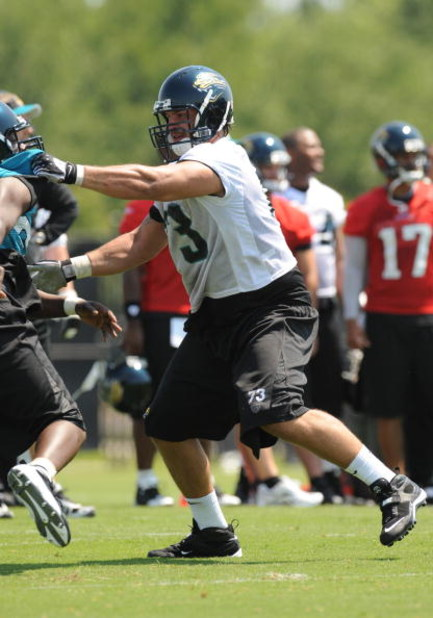 JACKSONVILLE, FL - MAY 1:  Tackle Eben Britton #73 of the Jacksonville Jaguars blocks May 1, 2009 at a team minicamp near Jacksonville Municipal Stadium in Jacksonville, Florida.  (Photo by Al Messerschmidt/Getty Images)