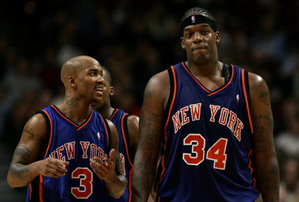 CHICAGO - NOVEMBER 28:  Stephon Marbury #3 of the New York Knicks talks with Eddy Curry #34 as they walk up court against the Chicago Bulls November 28, 2006 at the United Center in Chicago, Illinois. The Bulls won 102-85. NOTE TO USER: User expressly ack