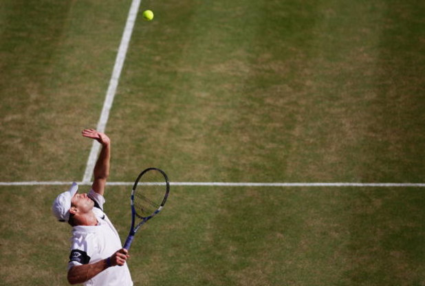 WIMBLEDON, ENGLAND - JULY 03:  Andy Roddick of USA serves during the men's singles semi final match against Andy Murray of Great Britain on Day Eleven of the Wimbledon Lawn Tennis Championships at the All England Lawn Tennis and Croquet Club on July 3, 20