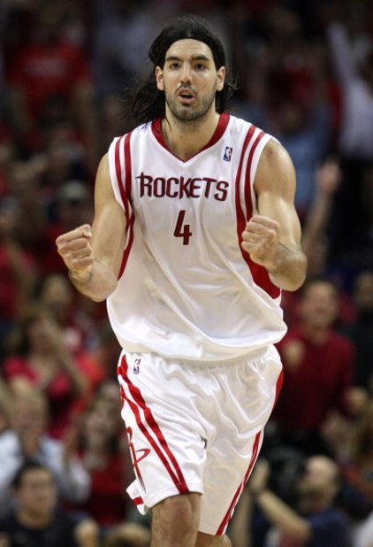 HOUSTON - APRIL 26:  Forward Luis Scola #4 of the Houston Rockets reacts during play against the Portland Trail Blazers in Game Four of the Western Conference Quarterfinals during the 2009 NBA Playoffs at Toyota Center on April 26, 2009 in Houston, Texas.