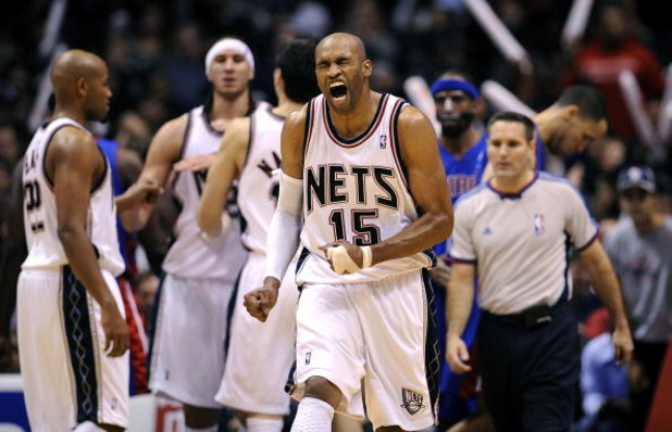 EAST RUTHERFORD, NJ - NOVEMBER 07:  Vince Carter #15 of the New Jersey Nets reacts during a game against of the Detroit Pistons November 7, 2008 at the Izod Arena in East Rutherford, New Jersey.  (Photo by Jeff Zelevansky/Getty Images)