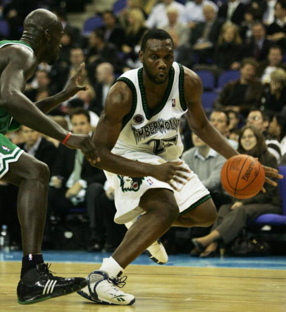 LONDON - OCTOBER 10:  Al Jefferson #25 of Minnesota is challenged by Kevin Garnett (L) of Boston during NBA Europe Live 2007 Tour match between the Boston Celtics and the Minnesota Timberwolves at the O2 Arena on October 10, 2007 in London, England.  NOTE