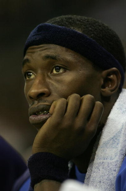 SAN ANTONIO - MAY 17:  Josh Howard #5 of the Dallas Mavericks looks on from the bench against the San Antonio Spurs in Game Five of the Western Conference Semifinals during the 2006 NBA Playoffs May 17, 2006 at AT&T Center in San Antonio, Texas. The Spurs