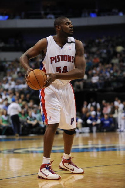 DALLAS - MARCH 17:  Jason Maxiell of the Detroit Pistons during play against the Dallas Mavericks on March 17, 2009 at American Airlines Center in Dallas, Texas.  NOTE TO USER: User expressly acknowledges and agrees that, by downloading and/or using this