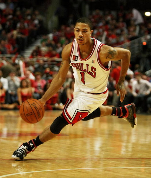 CHICAGO - APRIL 30: Derrick Rose #1 of the Chicago Bulls drives against the Boston Celtics in Game Six of the Eastern Conference Quarterfinals during the 2009 NBA Playoffs at the United Center on April 30, 2009 in Chicago, Illinois. The Bulls defeated the