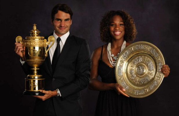 LONDON - JULY 5:  (EDITORS NOTE: THIS IMAGE IS A COMPOSITE OF TWO SEPERATE PORTRAITS) In this handout image provided by the AELTC, Roger Federer of Switzerland,  the Mens Singles Champion 2009 and Serena Williams of the United States, the Ladies Singles C