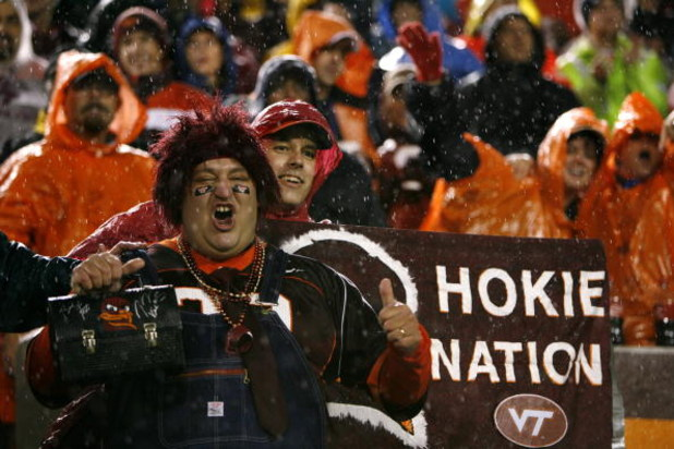 BLACKSBURG - OCTOBER 25:  Fans of the Virginia Tech Hokies show their support during the game against the Boston College Eagles at Lane Stadium on October 25, 2007 in Blacksburg, Virginia. (Photo by Kevin C. Cox/Getty Images)