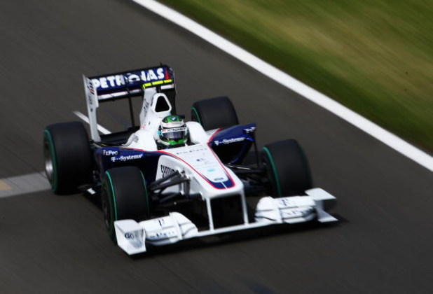 NORTHAMPTON, UNITED KINGDOM - JUNE 20:  Nick Heidfeld of Germany and BMW Sauber drives during final practice prior to qualifying for the British Formula One Grand Prix at Silverstone on June 20, 2009 in Northampton, England.  (Photo by Clive Mason/Getty I