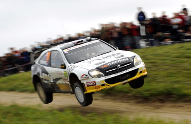 MIKOLAJKI, POLAND - JUNE 28:  Petter Solberg of Norway and Phil Mills of Great Britain compete in their Citroen Xsara during the third leg of the WRC Rally of Poland on June 28, 2009 in Mikolajki, Poland.  (Photo by Massimo Bettiol/Getty Images)