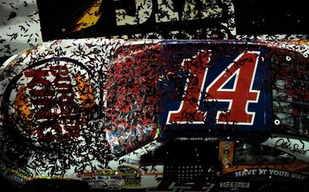 DAYTONA BEACH, FL - JULY 04: A view of confetti on the #14 Burger King Chevrvolet, after post race celbration in victory lane prior to Tony Stewart (not pictured) winning the NASCAR Sprint Cup Series 51st Annual Coke Zero 400 at Daytona International Spee