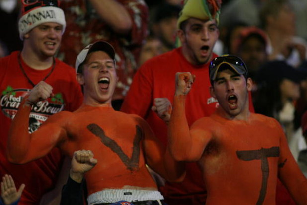 MIAMI - JANUARY 01: Virgina Tech fans celebrate during the FedEx Orange Bowl against the Cincinnati Bearcats at Dolphin Stadium on January 1, 2009 in Miami, Florida.  (Photo by Marc Serota/Getty Images)