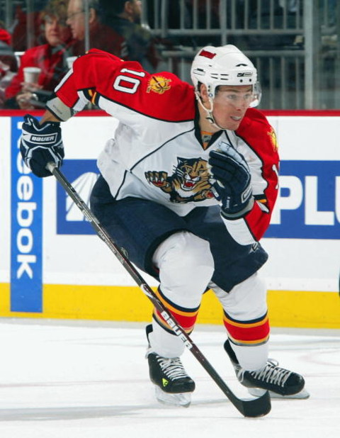 NEWARK, NJ - FEBRUARY 28:  David Booth #10 of the Florida Panthers skates against the New Jersey Devils at the Prudential Center on February 28, 2009 in Newark, New Jersey. The Devils defeated the Panthers 7-2.  (Photo by Jim McIsaac/Getty Images)