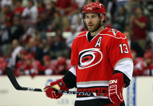RALEIGH, NC - MAY 23:  Ray Whitney #13 of the Carolina Hurricanes skates against the Pittsburgh Penguins during Game Three of the Eastern Conference Championship Round of the 2009 Stanley Cup Playoffs at RBC Center on May 23, 2009 in Raleigh, North Caroli