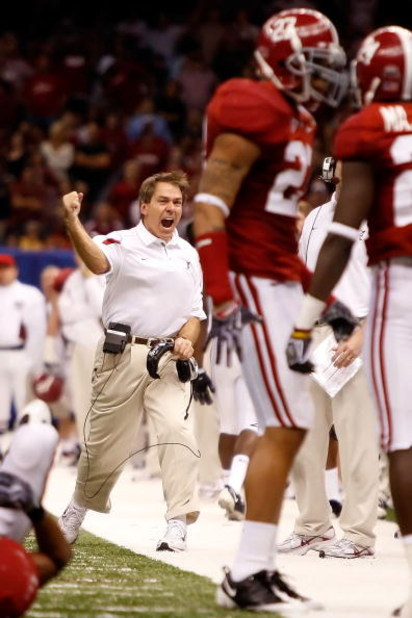 NEW ORLEANS - JANUARY 02:  Head coach Nick Saban of the Alabama Crimson Tide reacts in the fourth quarter while taking on the Utah Utes during the 75th Allstate Sugar Bowl at the Louisiana Superdome on January 2, 2009 in New Orleans, Louisiana.  (Photo by