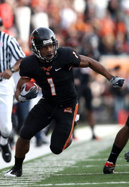 CORVALLIS, OR - NOVEMBER 15:  Jacquizz Rodgers #1 of the Oregon State Beavers runs with the ball against the California Golden Bears at Reser Stadium on November 15, 2008 in Corvalis, Oregon.  (Photo by Jonathan Ferrey/Getty Images)