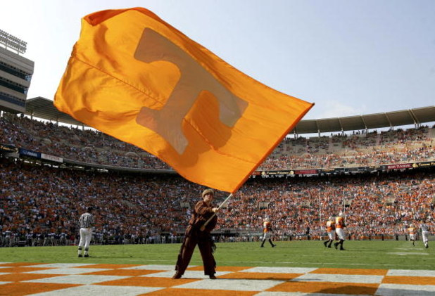 KNOXVILLE, TN - OCTOBER 01: The Volunteer mascot waves the flag in the edzone after a Tennessee touchdown as the Tennessee Volunteers defeated  the Mississippi Rebels 27-10 at Neyland Stadium on October 1, 2005 in Knoxville, Tennessee.  (Photo by Doug Pen