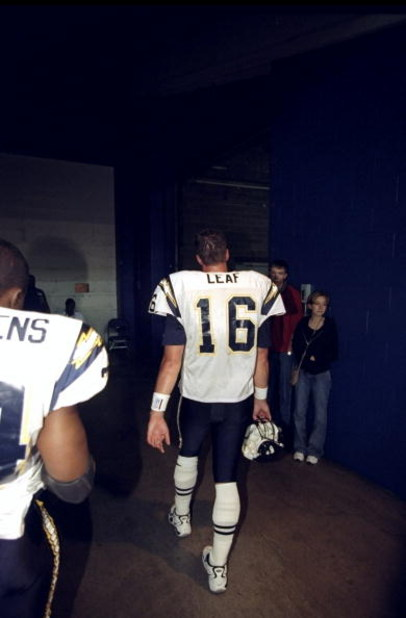 4 Oct 1998:  Quarterback Ryan Leaf #16 of the San Diego Chargers leaves the field following a game against the Indianapolis Colts at the RCA Dome in Indianapolis, Indiana. The Colts defeated the Chargers 17-12. Mandatory Credit: Vincent Laforet  /Allsport