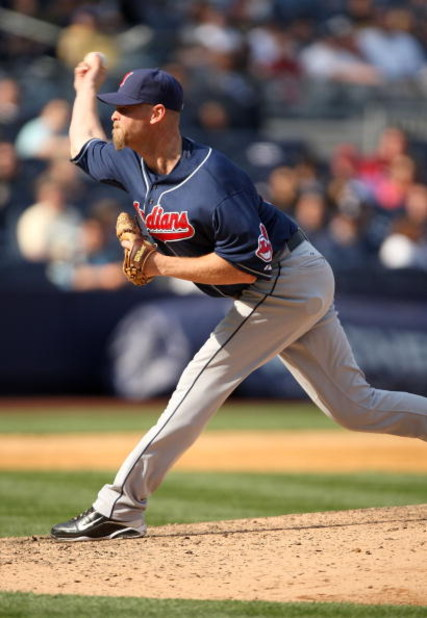 NEW YORK - APRIL 19:  Kerry Wood #34 of the Cleveland Indians pitches against the New York Yankees at Yankee Stadium on April 19, 2009 in the Bronx borough of New York City.  (Photo by Ezra Shaw/Getty Images)