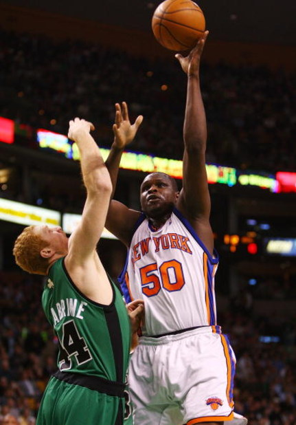 BOSTON - NOVEMBER 29:  Zach Randolph #50 of the New York Knicks takes a shot as Brian Scalabrine #44 of the Boston Celtics defends at the TD Banknorth Garden November 29, 2007 in Boston, Massachusetts.  NOTE TO USER: User expressly acknowledges and agrees