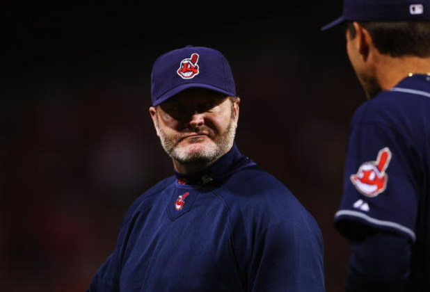 BOSTON - OCTOBER 20:  Manager Eric Wedge of the Cleveland Indians argues a ball he thought was a home run but was foul during the first inning against the Boston Red Sox in Game Six of the American League Championship Series at Fenway Park on October 20,