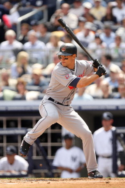 NEW YORK - APRIL 17:  Grady Sizemore #24 of the Cleveland Indians bats against the New York Yankees at Yankee Stadium on April 17, 2009 in the Bronx borough of New York City.  (Photo by Ezra Shaw/Getty Images)