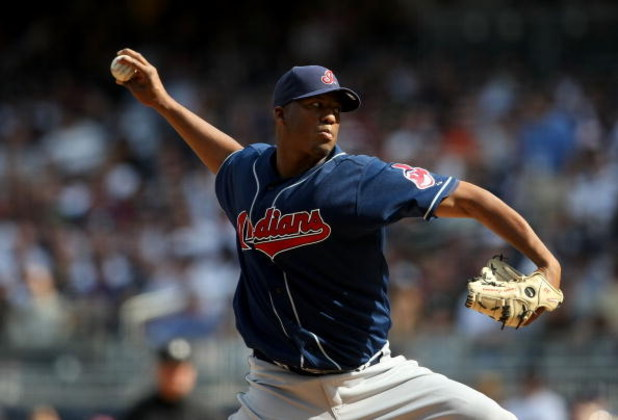 NEW YORK - APRIL 18: Fausto Carmona #55 of the Cleveland Indians pitches against the New York Yankees at Yankee Stadium on April 18, 2009 in the Bronx borough of New York City.  (Photo by Nick Laham/Getty Images)