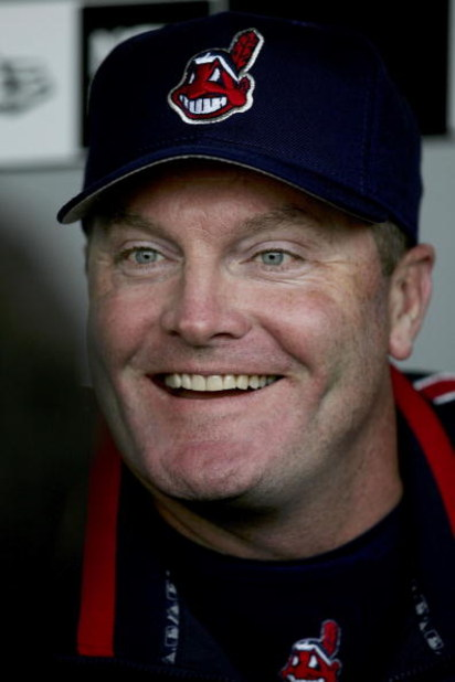 CHICAGO - APRIL 02:  Manager Eric Wedge #22 of the Cleveland Indians chats with the media prior to the Opening Day game between the Indians and the Chicago White Sox on April 2, 2006 at U.S. Cellular Field in Chicago, Illinois.  (Photo by Jonathan Daniel/