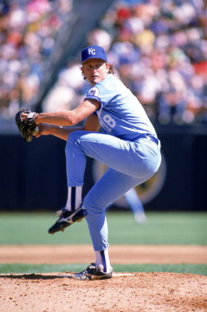 OAKLAND, CA - 1989:  Bret Saberhagen #31 of the Kansas City Royals winds up for a pitch during a game against the Oakland Athletics at Oakland-Alameda County Coliseum in 1989 in Oakland, California.  (Photo by Otto Greule Jr/Getty Images)