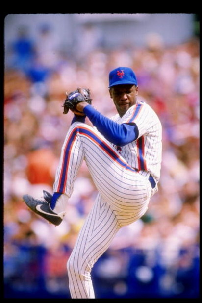 Pitcher Dwight Gooden of the New York Mets in action during a game at Shea Stadium in Flushing, New York.