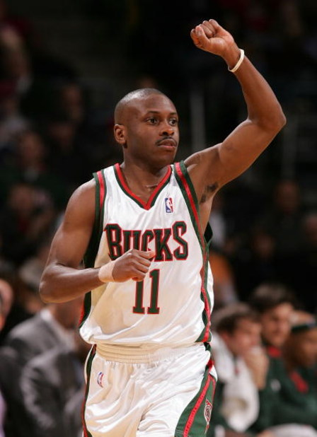 MILWAUKEE - FEBRUARY 10:  Earl Boykins #11 of the Milwaukee Bucks celebrates Bucks basket during the second quarter of their game against the Denver Nuggets February 10, 2007 at the Bradley Center in Milwaukee, Wisconsin.  (Photo by Jonathan Daniel/Getty