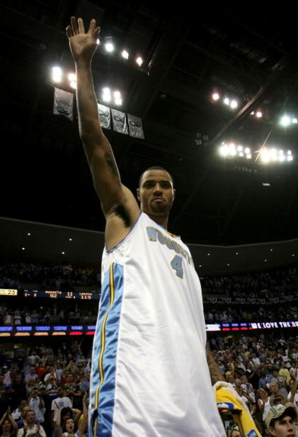 DENVER - MAY 29:  Kenyon Martin #4 of the Denver Nuggets waves to the crowd after losing to the Los Angeles Lakers in Game Six of the Western Conference Finals during the 2009 NBA Playoffs 119-92 at Pepsi Center on May 29, 2009 in Denver, Colorado. NOTE T