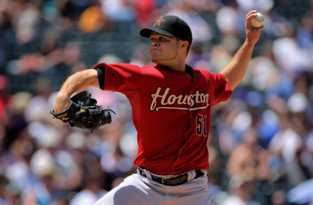 DENVER - MAY 14:  Starting pitcher Wandy Rodriguez #51 of the Houston delivers against the Colorado Rockies during MLB action at Coors Field on May 14, 2009 in Denver, Colorado. Rodriguez earned the win as he pitched seven innings recorded 11 strike outs
