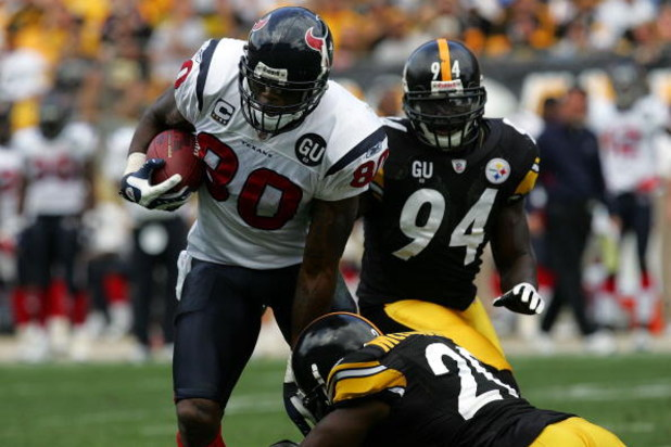 PITTSBURGH - SEPTEMBER 07:  Wide receiver Andre Johnson #80 of the Houston Texans during play against the Pittsburgh Steelers on September 7, 2008 at Heinz Field in Pittsburgh, Pennsylvania.  (Photo by Ronald Martinez/Getty Images)