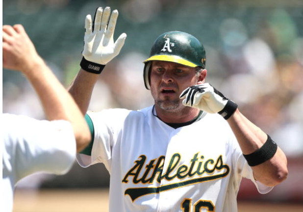 OAKLAND, CA - JULY 1: Jason Giambi #16 of the Oakland Athletics celebrates after hitting a home run in the sixth inning against the Detroit Tigers during a Major League Baseball game on July 1, 2009 at the Oakland Coliseum in Oakland, California. (Photo b