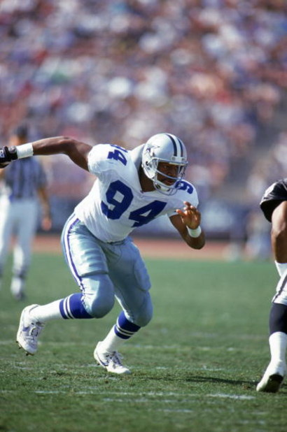 LOS ANGELES - OCTOBER 25:  Defensive end Charles Haley #94 of the Dallas Cowboys rushes the line of scrimmage during a game against the Los Angeles Raiders at Los Angeles Memorial Coliseum on October 25, 1992 in Los Angeles, California.  The Cowboys won 2