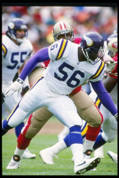 3 Oct 1993:  Linebacker Chris Doleman of the Minnesota Vikings moves down the field during a game against the San Francisco 49ers at Candlestick Park in San Francisco, California.  The 49ers won the game, 38-19. Mandatory Credit: Otto Greule Jr.  /Allspor