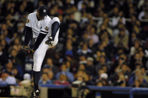 31 Oct 2001: Orlando Hernandez #26 of the New York Yankees throws against the Arizona Diamondbacks during game four of the Major League Baseball World Series at Yankee Stadium in New York, New York. The Yankees won 4-3. DIGITAL IMAGE. Mandatory Credit: Al