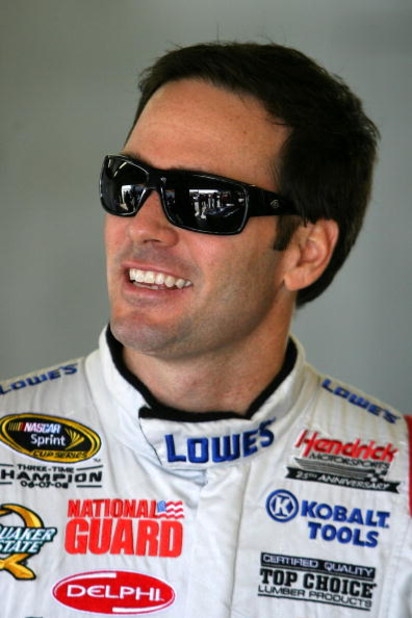 LOUDON, NH - SEPTEMBER 18: Jimmie Johnson driver of the #48 Lowe's Chevrolet during practice for the NASCAR Sprint Cup Series Sylvania 300 at the New Hampshire Motor Speedway on September 18, 2009 in Loudon, New Hampshire  (Photo by Chris Trotman/Getty Im