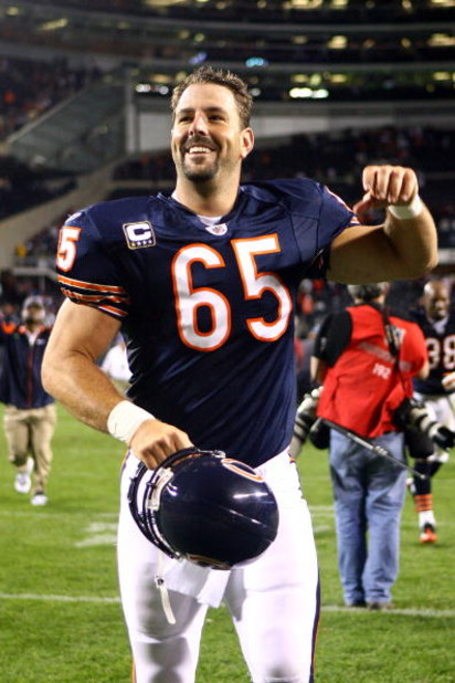 CHICAGO - SEPTEMBER 28:  Patrick Mannelly #65 of  the Chicago Bears runs off the field as he celebrates the Bears' 24-20 win against the Philadelphia Eagles at Soldier Field on September 28, 2008 in Chicago, Illinois.  (Photo by Jeff Gross/Getty Images)
